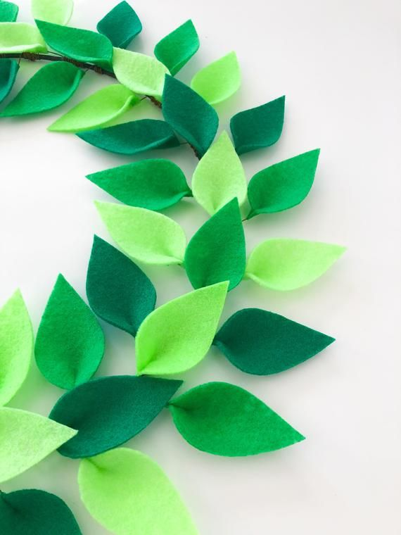 Photo of Spring Wreath for Front Door – Summer Wreath –  Felt Leaf Wreath / Green Wreath / St. Patricks Day –