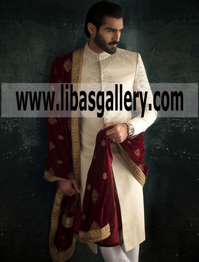 Beige Gold Groom Dulha Jamawar Sherwani Ismail Farid Maroon Velvet Shawl Westford Massachusetts Usa Velvet Shawl Sherwani Embroidered Wedding