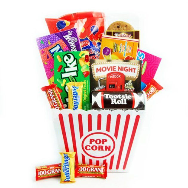Redbox movie night gift basket why pay 50 bucks for this great redbox movie night gift basket why pay 50 bucks for this great gift idea make it yourself use a large popcorn tub for the basket fill with popcorns solutioingenieria Image collections