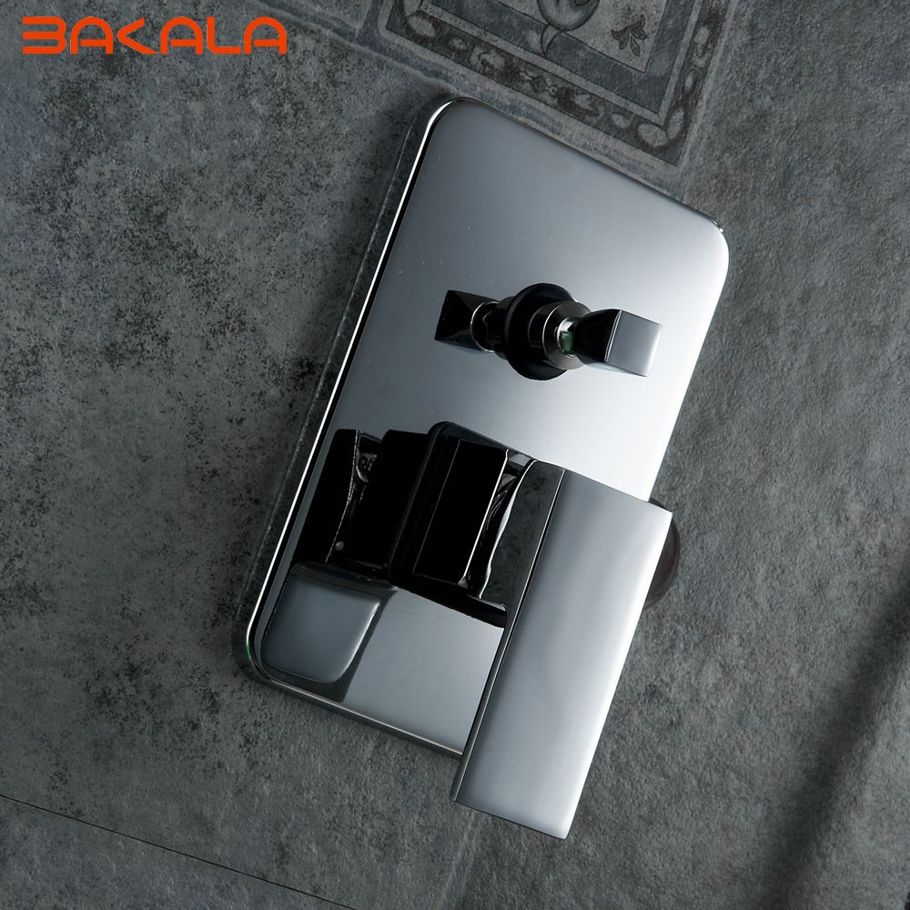 Single Handle Square Shape Solid Br Wall Mount Shower Mixer Control Valve And Faucet