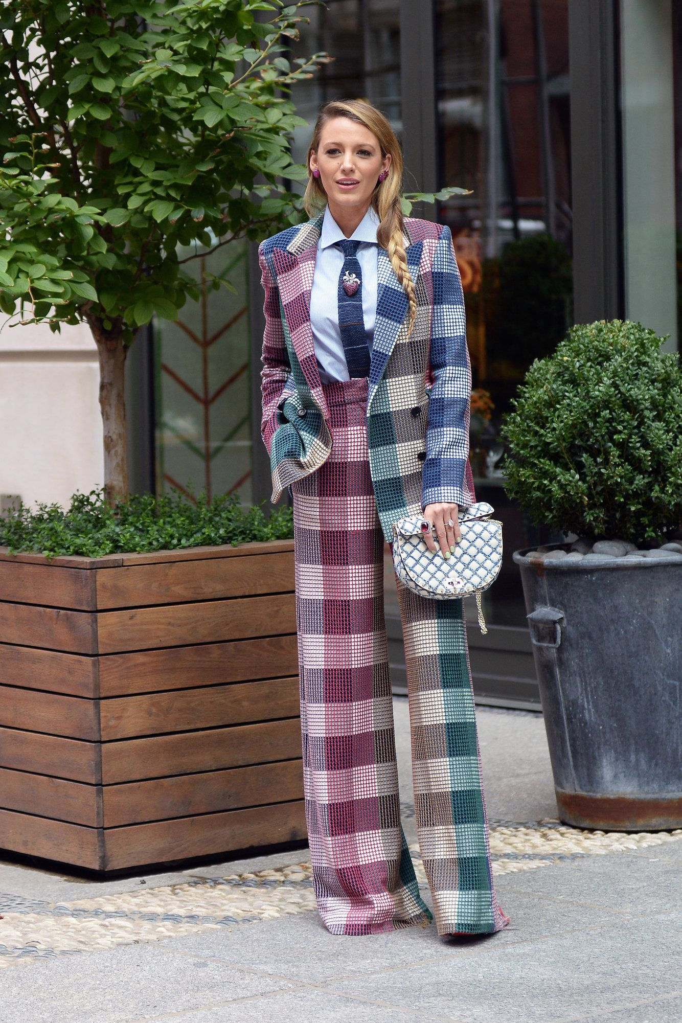 A fan told Blake Lively to fire her stylist when she stepped out in a checkered 'tablecloth' pantsuit — and she had the best response | Fashion, Spring outfits casual, Blake lively