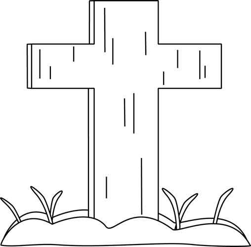 Black And White Easter Cross In The Grass Easter Cross Clip Art Black And White
