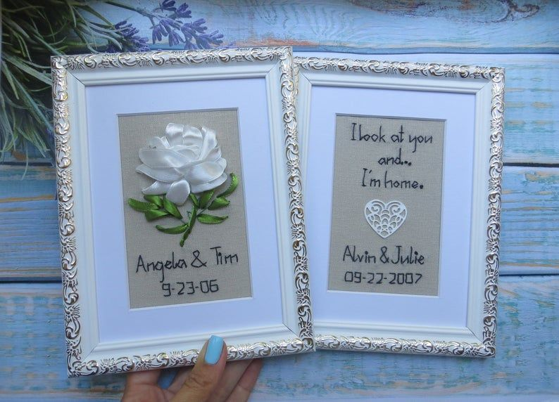 14th Wedding Anniversary Gift For Him Her Linen Ivory Etsy Traditional Anniversary Gifts Wedding Anniversary Gifts Anniversary Gifts
