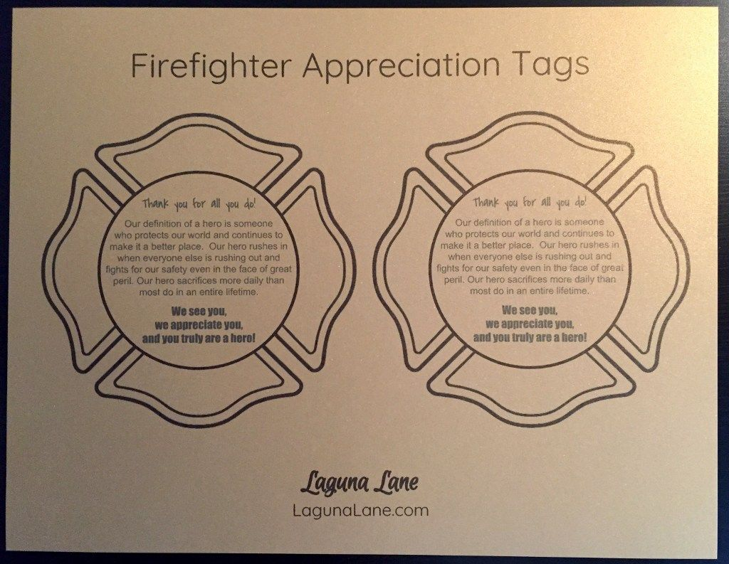 Firefighter Appreciation T Free Printable Tags