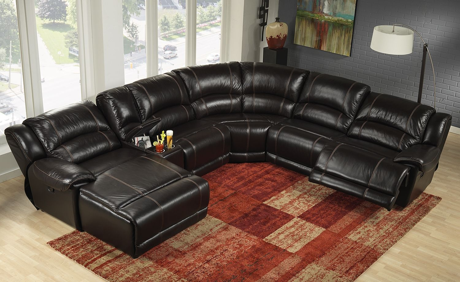 Notredame Leather 6 Pc Power Sectional Reverse