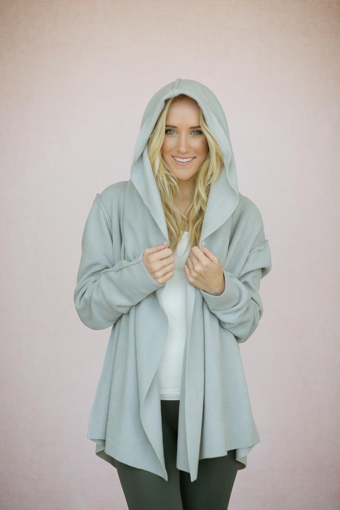 Oversized Fleece Yoga Wrap Hoodie Jacket