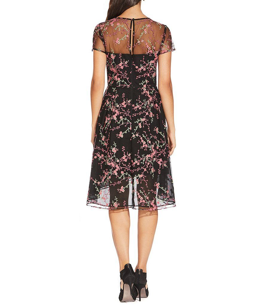Adrianna Papell Floral Embroidered A-Line Dress | Floral ...