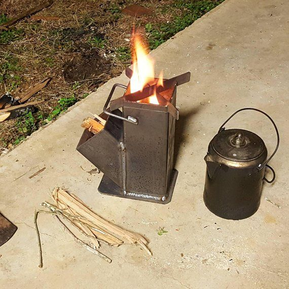 Compact Rocket Stove Self Feeding W Carry Handle Raw