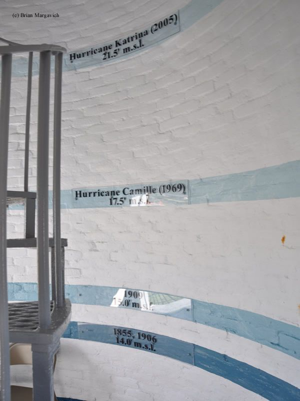 Biloxi Lighthouse Flood Lines Of Hurricanes Biloxi Lighthouse