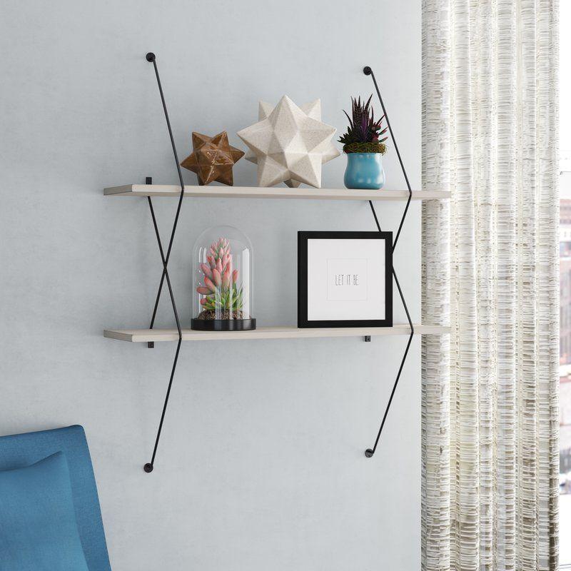 Bonney 2 Shelf Shelving System With Wire Bracket Shelves Glass Wall Shelves Glass Shelves Kitchen