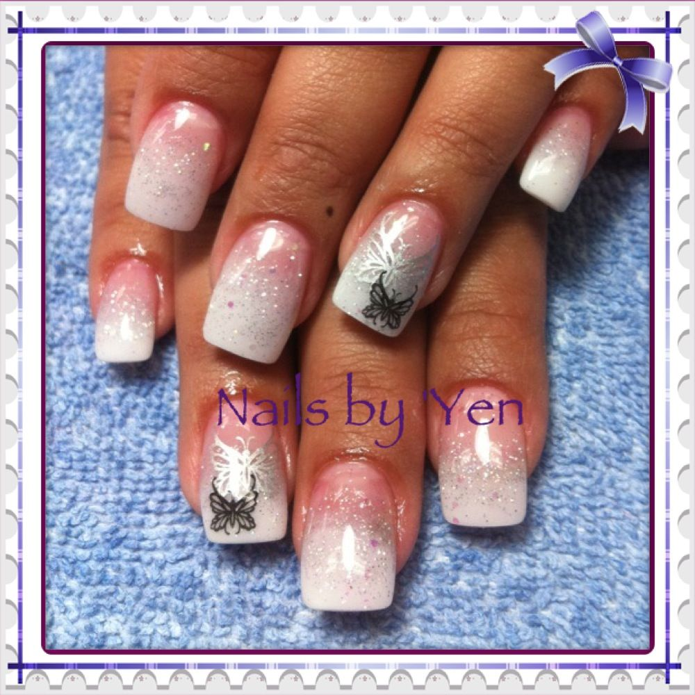 I did a french white and fine silver acrylic nails fade ombre i did a french white and fine silver acrylic nails fade ombre gradual with konad butterfly stampsil art by yen prinsesfo Images