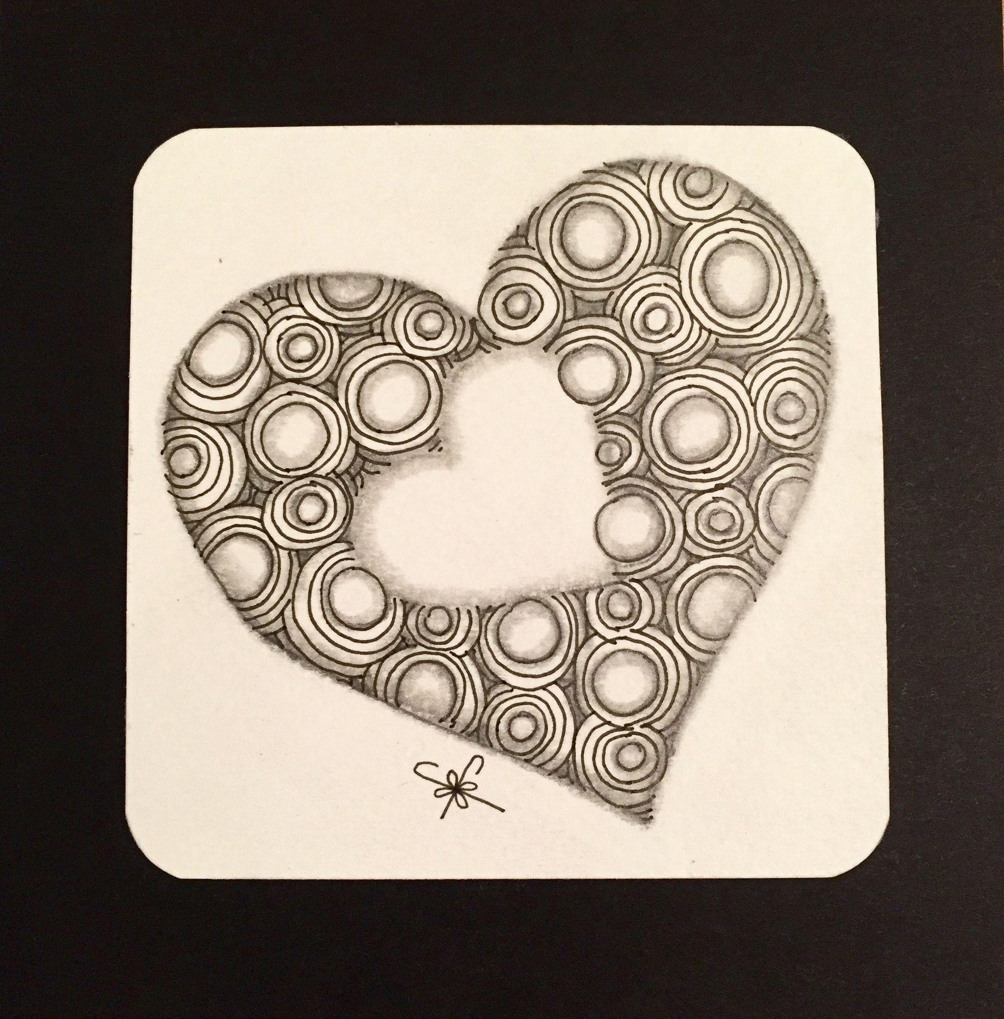 Heart Zentangle Patterns Zentangle Drawings Doodles Zentangles