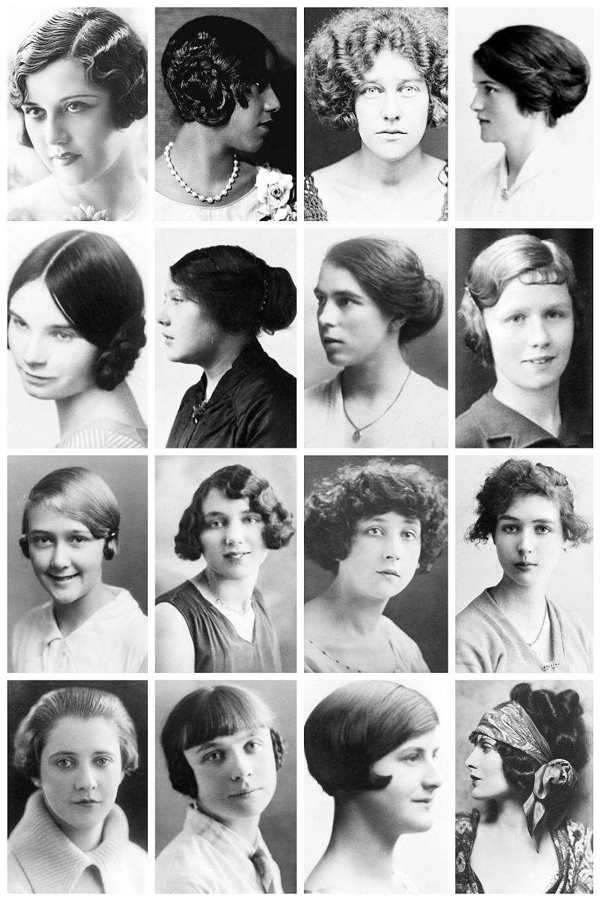 A Collection Of 1920 S Photographs Depicting Some Of The Hairstyles Of The Time Like The Kiss Curl The Orchid Bob 1920s Hair Vintage Hairstyles Hair Styles
