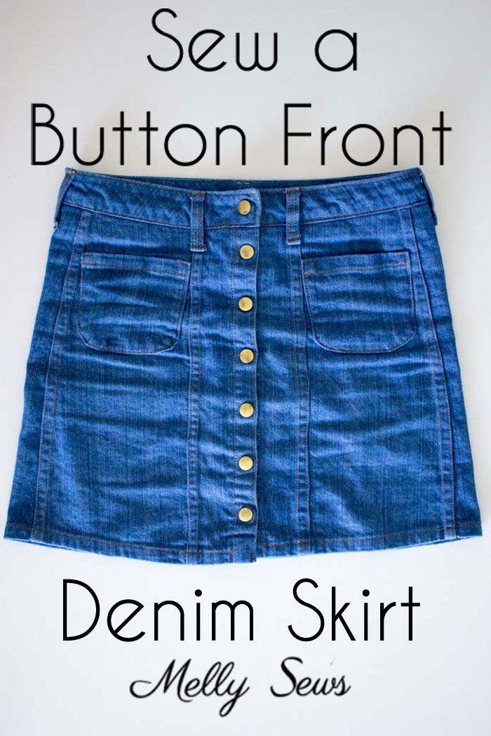 Sew a Button Front Denim Skirt | Nähen schnittmuster, Damen und ...