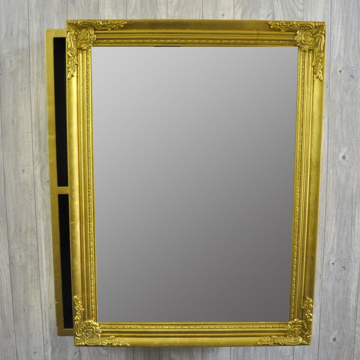 French Style Antique Gold Sliding Mirror Door Cabinet Mirror