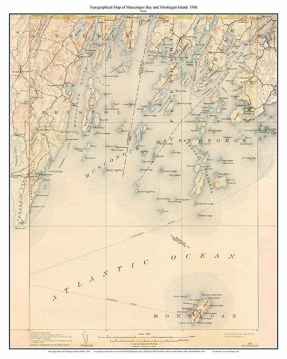 Monhegan Island And Muscongus Bay 1906 Old Topographic Map Vijan