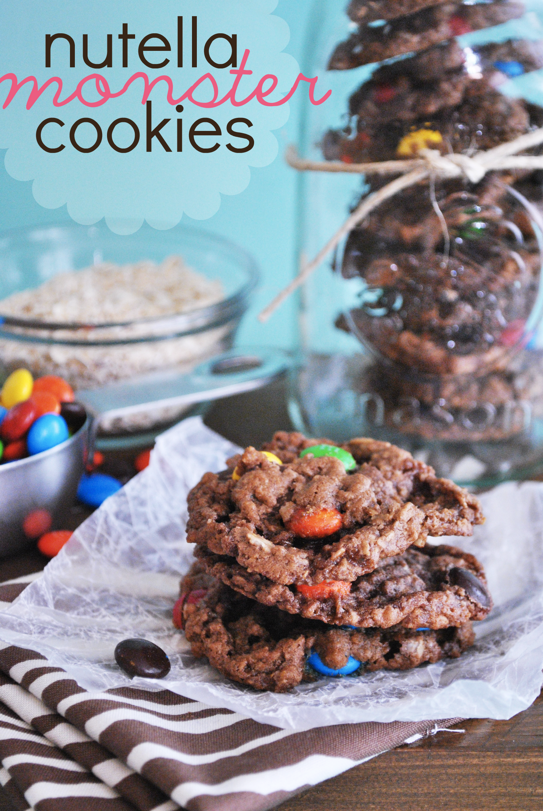 Nutella Monster Cookies. I like these even better than the Peanut Butter kind!! Seriously. #Nutella #monstercookies