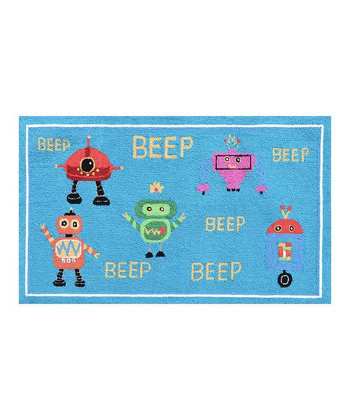 Take a look at the Beep Beep Robots Rug on #zulily today!