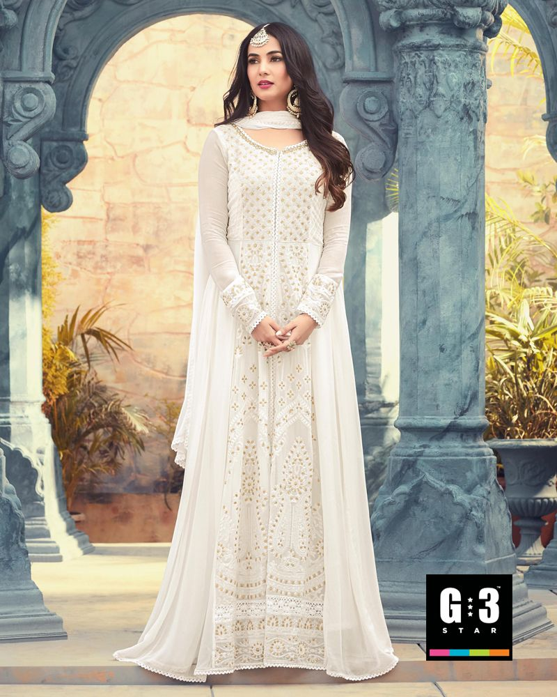 798d224e27feb2 Stylish Off White Colored Georgette Salwar Suit Keep your style unique and  artistic with this off white colored floore length suit.