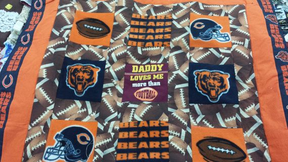 Daddy Loves Me More Than Football Chicago Bears Baby Blanket