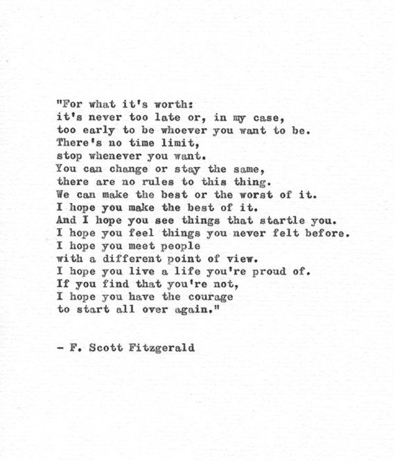F. Scott Fitzgerald Hand Typed Print 'A Life You Are Proud Of' Vintage Typewriter Letterpress Quote