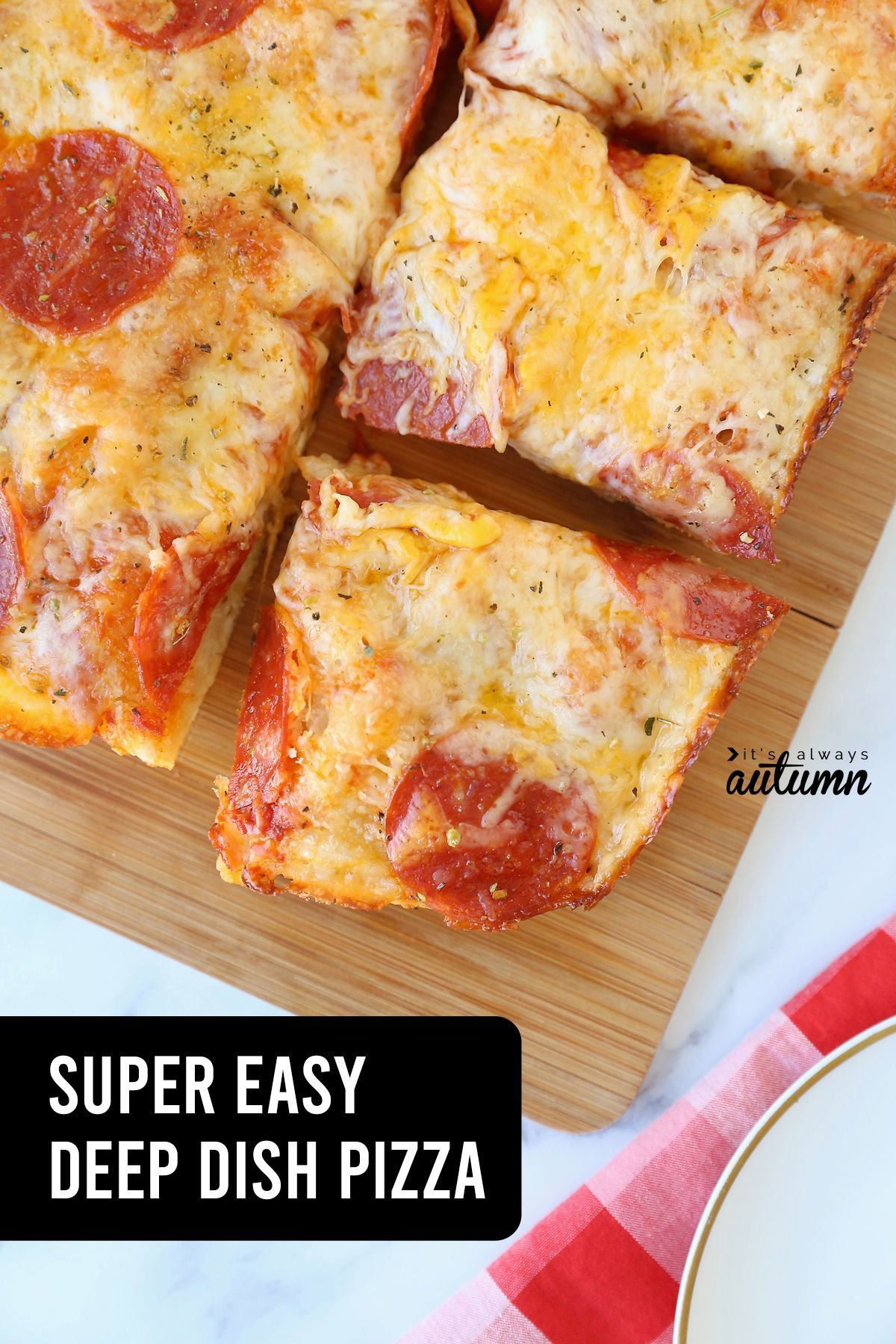 This crazy easy deep dish pizza has a gorgeous this crust that's made with just 4 ingredients!