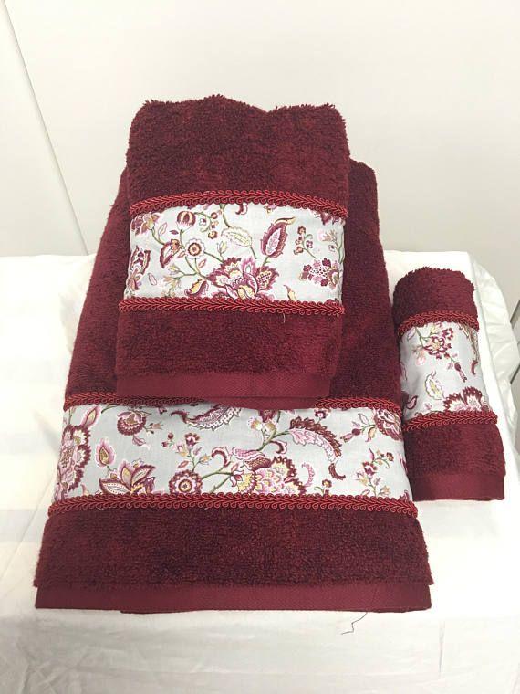 decorative burgundy with floral trim towels - Decorative Towels