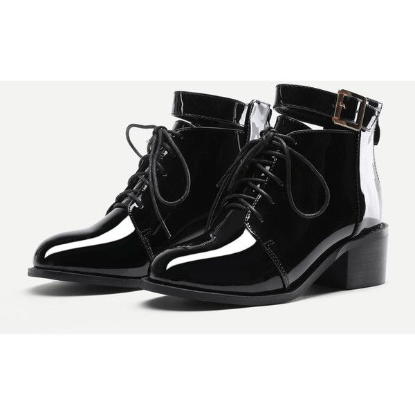 1f6698e0a3c1 Lace Up Block Heeled Patent Leather Boots ( 40) ❤ liked on Polyvore  featuring shoes