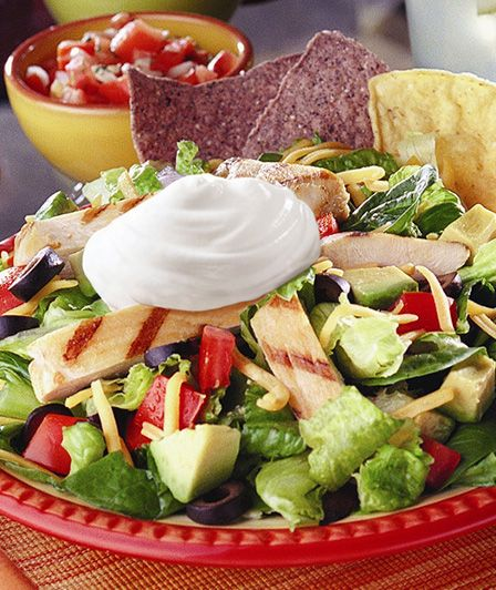 Grilled Chicken Taco Salad Daisy Brand Sour Cream Cottage Cheese Recipe Grilled Chicken Taco Salad Chicken Taco Salad Chicken Tacos