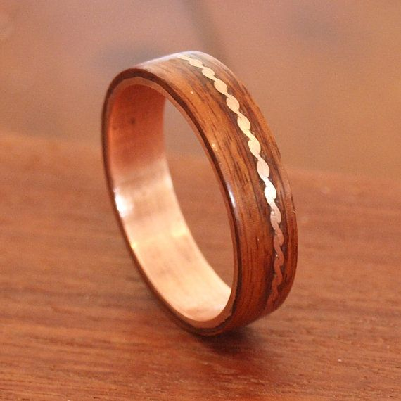 68 Wooden Rings Bentwood Copper and Rosewood Inlay Rings Mens