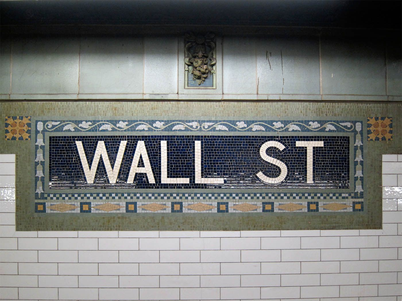 Wall street station stock market and etc pinterest wall mosaics in the new york subway dailygadgetfo Choice Image