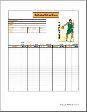Free! Printable basketball stat sheet to keep track of players ...
