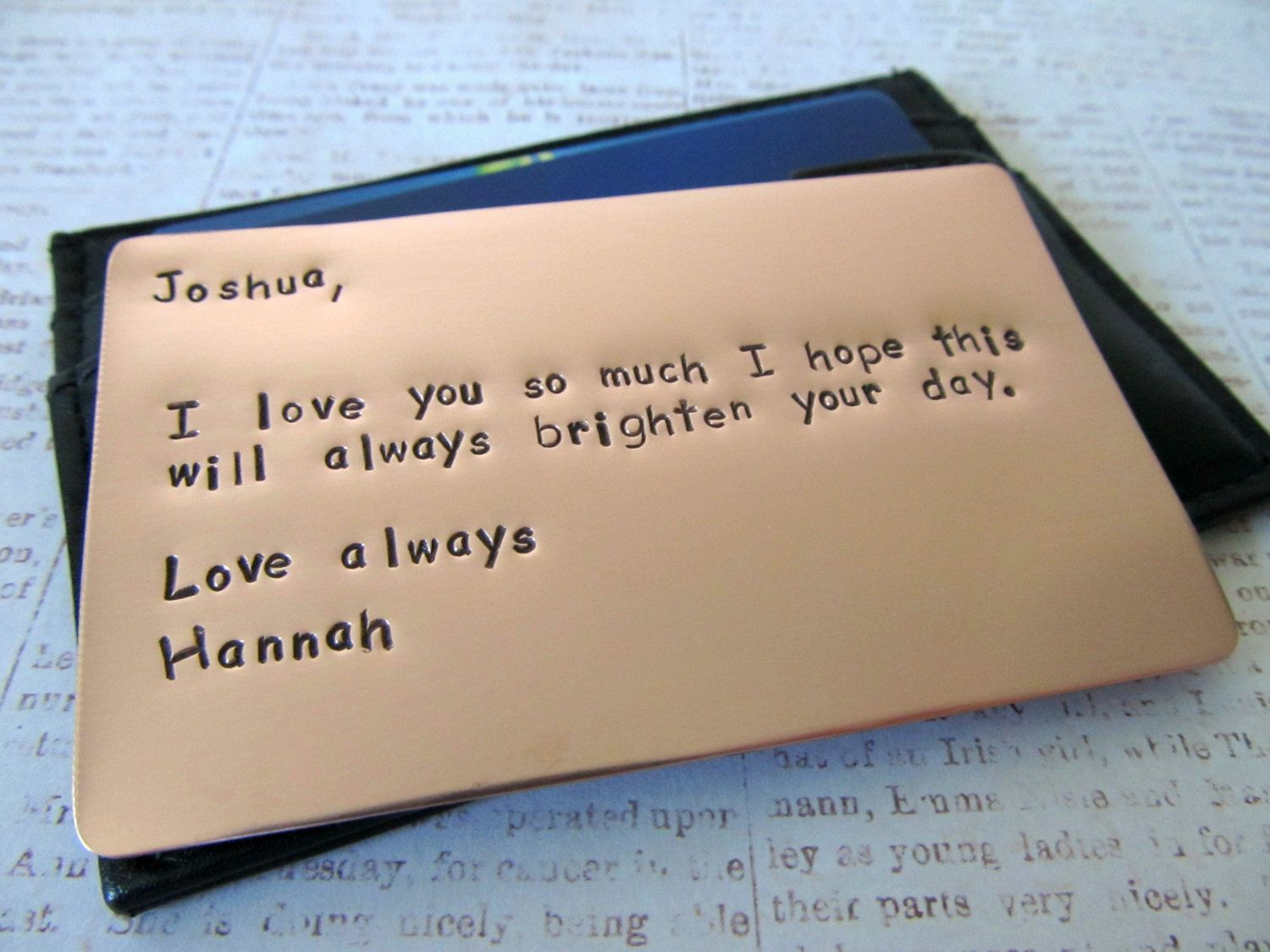 Personalized wallet insert copper card hand stamped for What to get my boyfriend for anniversary
