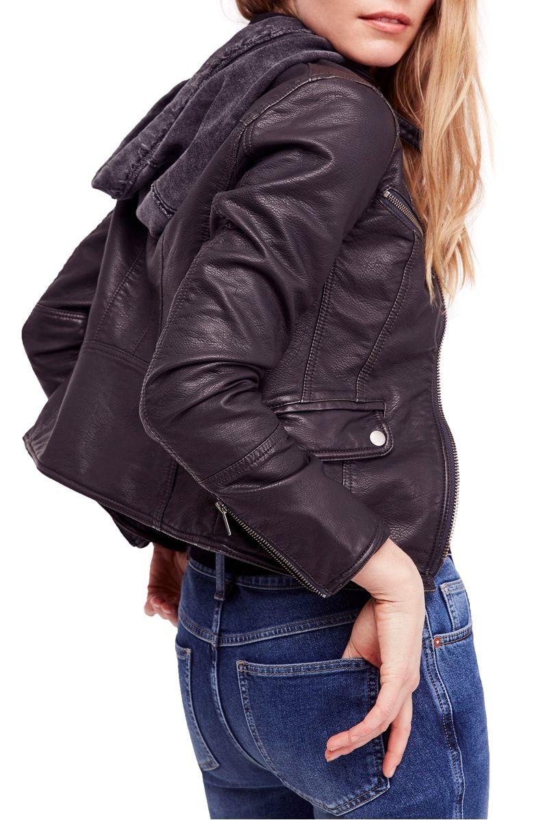 Monroe Hooded Faux Leather Moto Jacket, Alternate, color