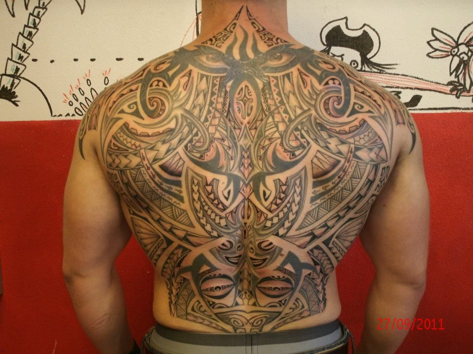 Polynesian Full Back Tattoos: Tattoo Full Back For Men Of Tribal Maori Style By