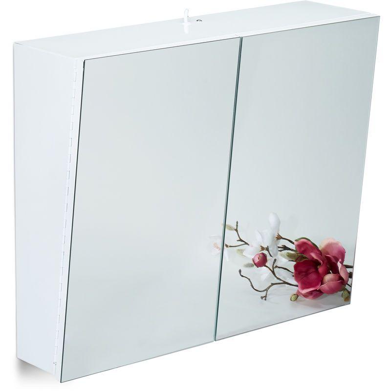 Armoire Toilette Miroir 2 Portes Meuble Salle de Bain ...