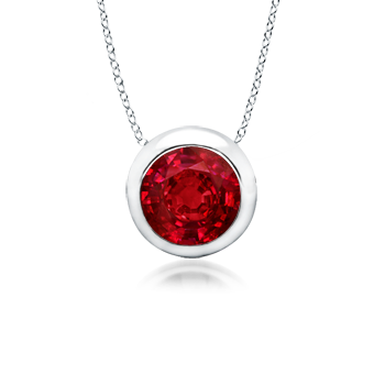 Angara Bezel-Set Round Ruby Necklace in 14k White Gold KSGWIPaPKV