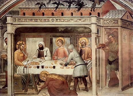 tréteaux 1365-69 Repas dans la maison de Lévi, Giovanni da Milano, Florence, Santa Croce