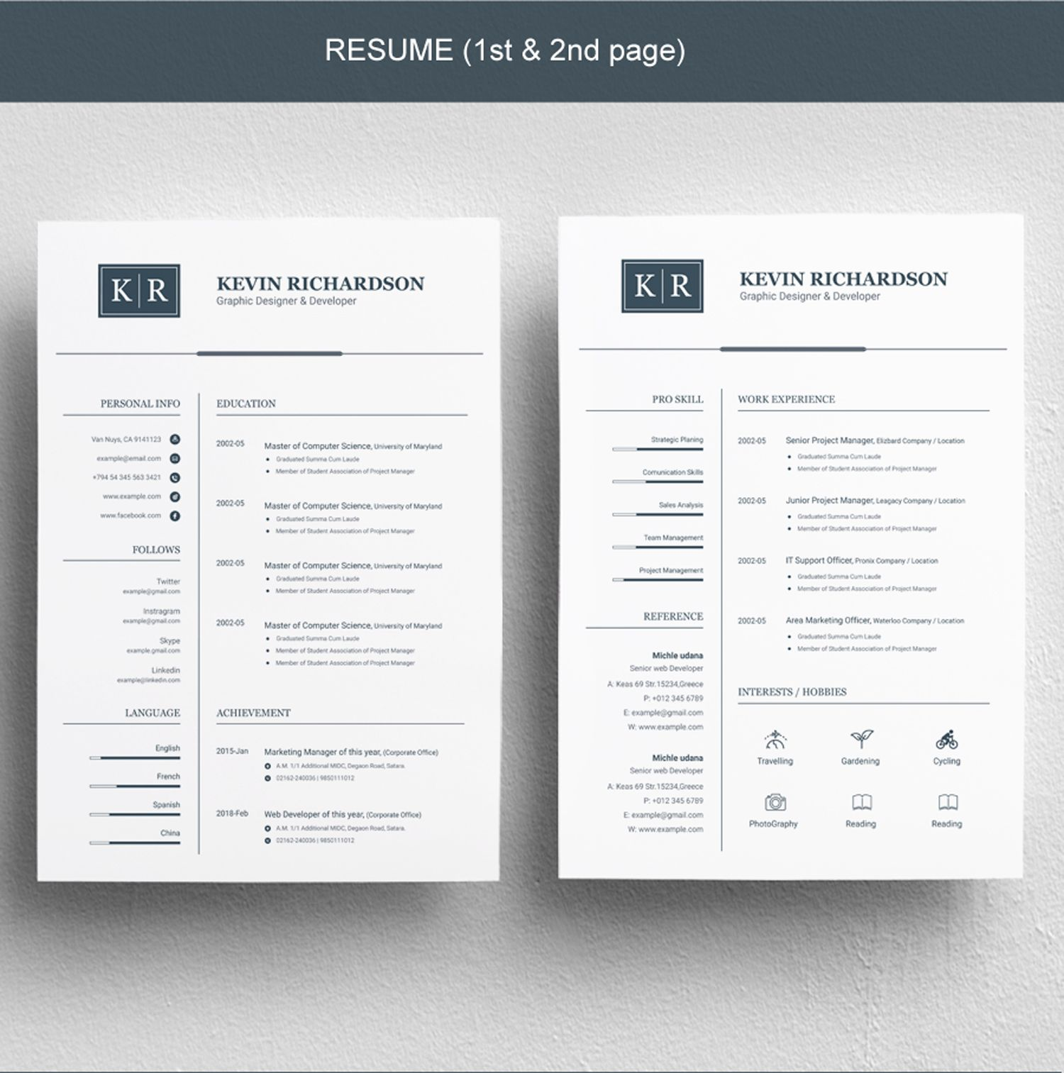 Clean Resume Template Resume/CV Template A4/Doc Resume