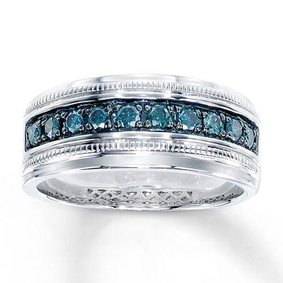 Artistry Diamonds Mens Wedding Ring 1/6 ct tw Blue Diamonds Stainless Steel OVGhSjh1h