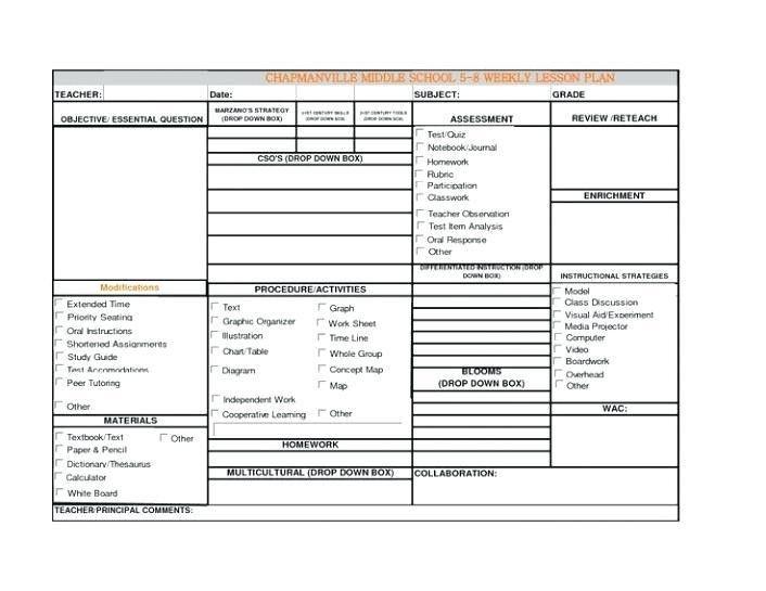 Marzano Lesson Plan Template Pdf Unique Lesson Plan