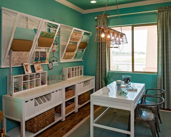 Clothes Dryer Racks As Paper Holders In Craft Room Traditional Home Office By Meritage Homes