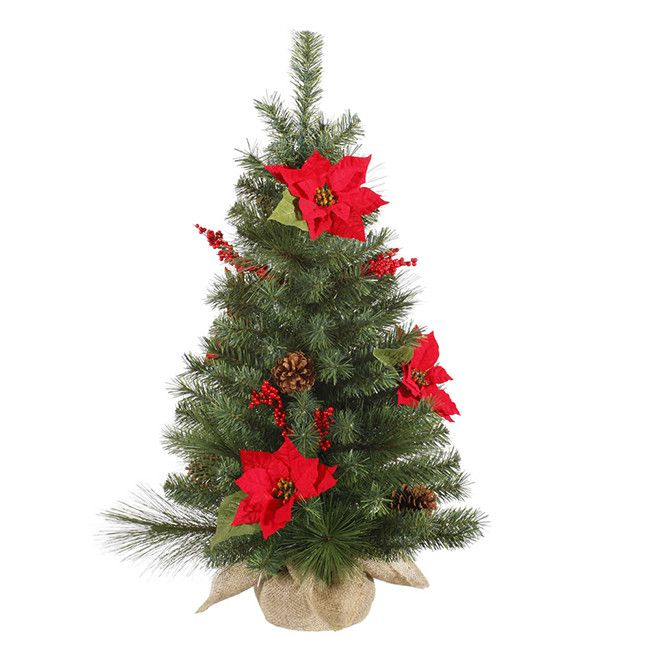3' Poinsettia Berry and Pine Cone Christmas Tree with Clear Light ...
