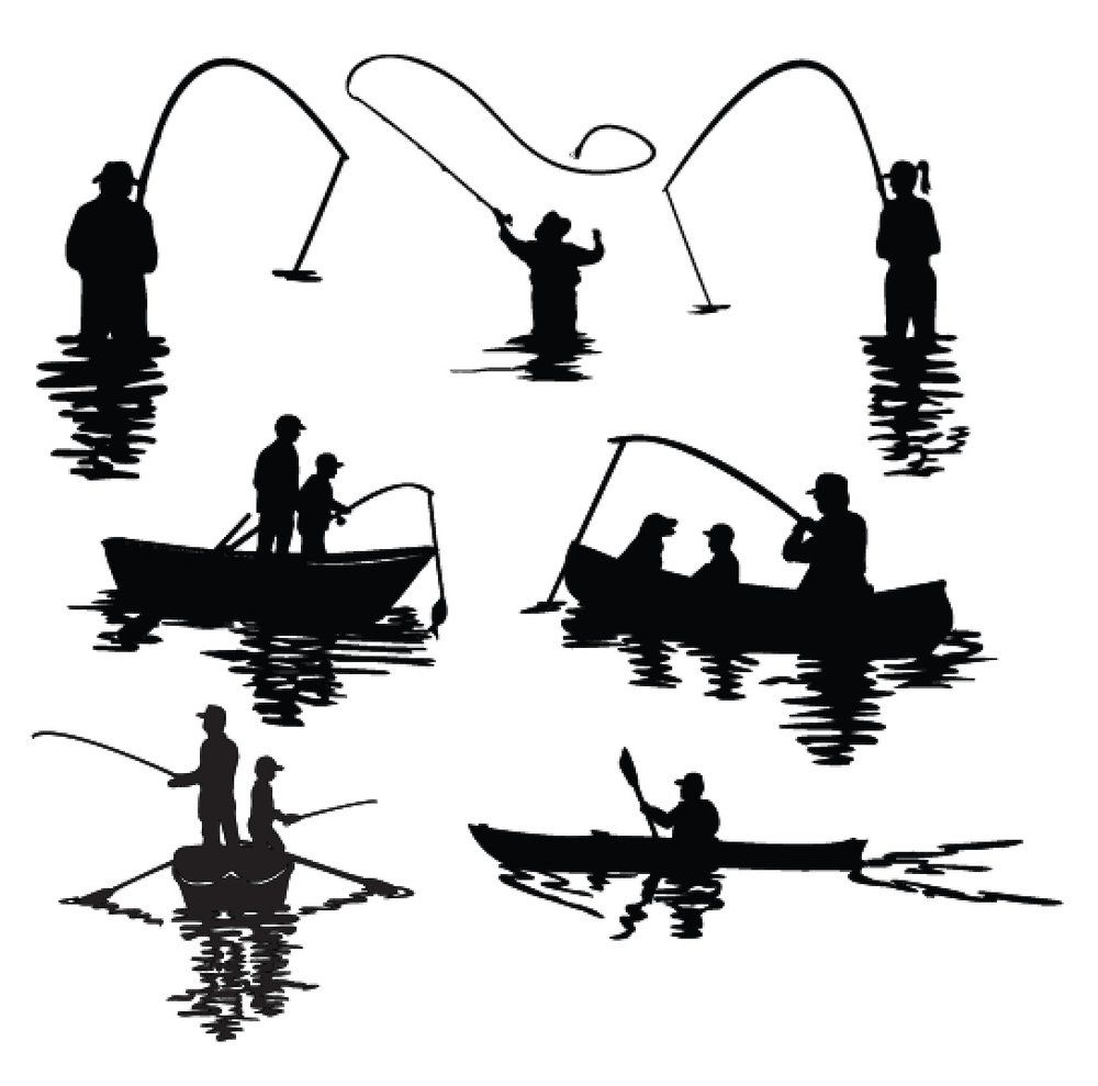 Download 7 Water Sports Silhouettes 3dcuts Com Fish Silhouette Fishing Svg Fish Drawings