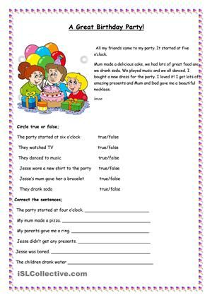 A great Birthday Party | Party vocabulary and holidays ...