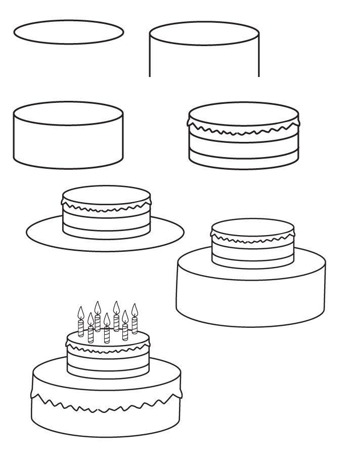 Drawing Birthday Cake Cake Drawing Cute Easy Drawings Easy Drawings