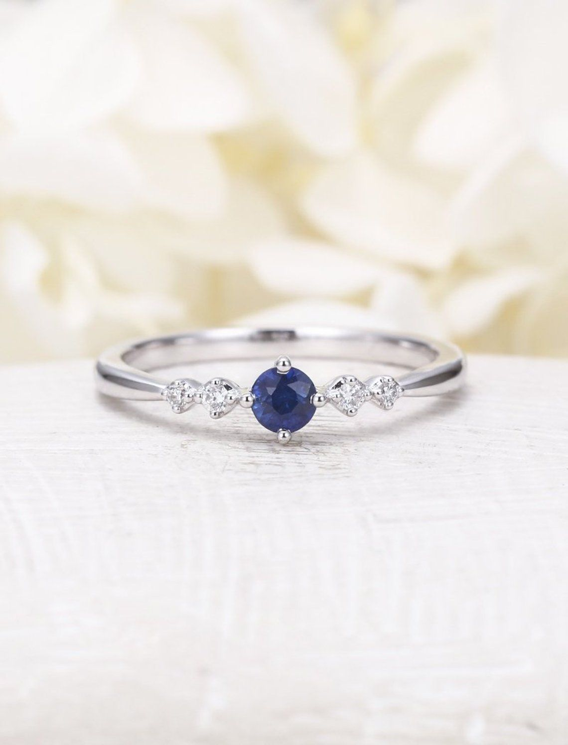 Engagement Ring Sapphire Ring Promise Ring Anniversary Ring lab Solitaire Ring Delicate Sapphire Heart Ring