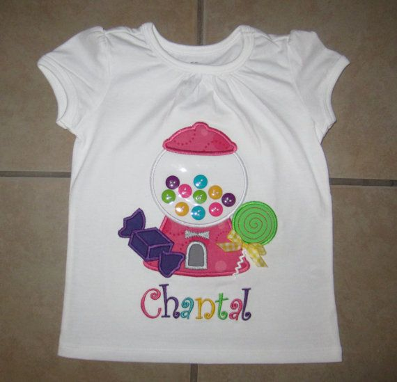 Embroidered  Candy & gumball machine shirt by KimsKreativeBowtique
