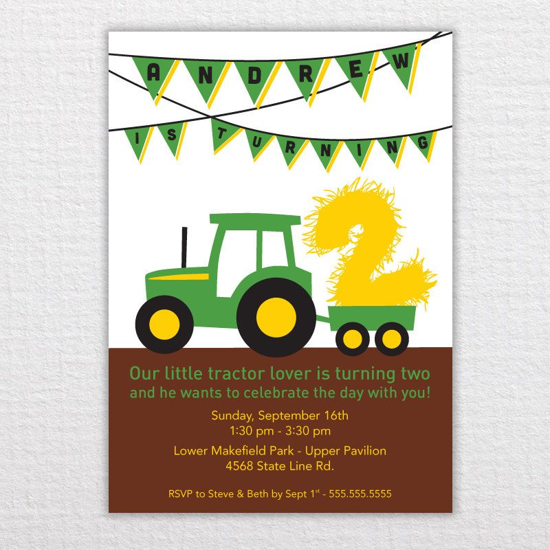 Custom Tractor Birthday Invitation Pdf