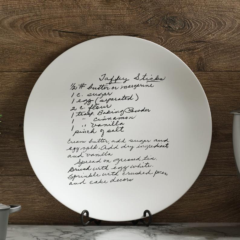 Family recipe plate transfer your loved ones handwritten